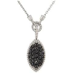 2.08 Carat Black and White Diamond Cluster Pendant Necklace 14 Karat in Stock