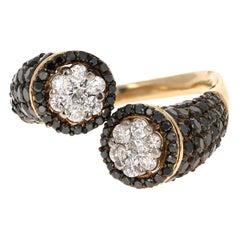 2.08 Carat Black Diamond 14 Karat Yellow Gold Cocktail Ring