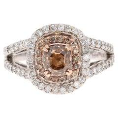 2.08 Carat Brown and White Diamond Engagement 14 Karat White Gold Ring