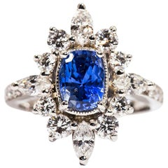 2.08 Carat Cushion Cut Sapphire and 1.43 Carat Diamond Cocktail Platinum Ring