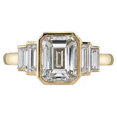 2.08 Carat Emerald Cut Diamond Set in a Handcrafted 18 Karat Yellow Gold Ring