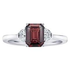 2.08 Carat Emerald Cut Reddish Brown Sapphire and Diamond Platinum Ring