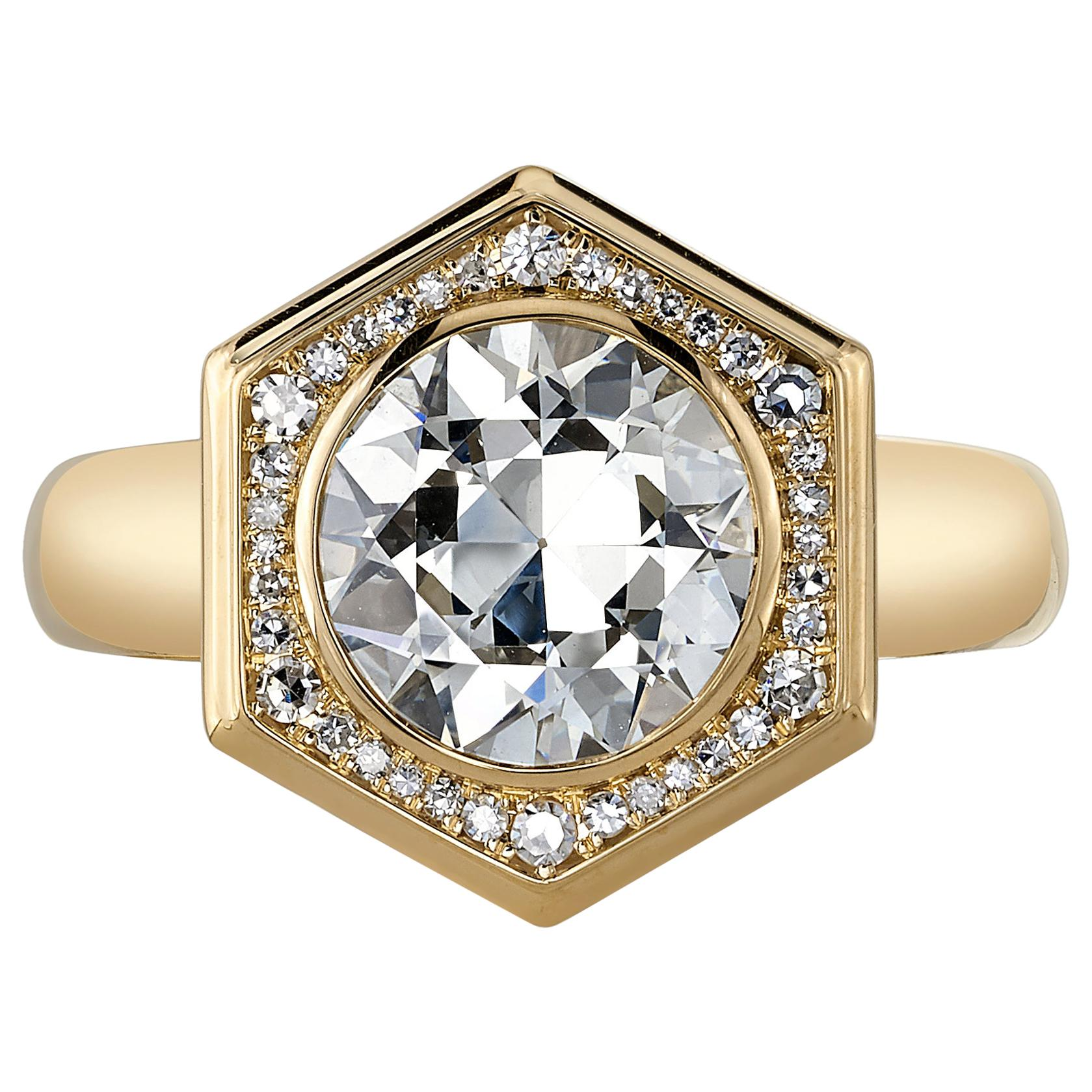 2.08 Carat GIA Certified Old European Cut Diamond Set in an 18 Karat Gold Ring