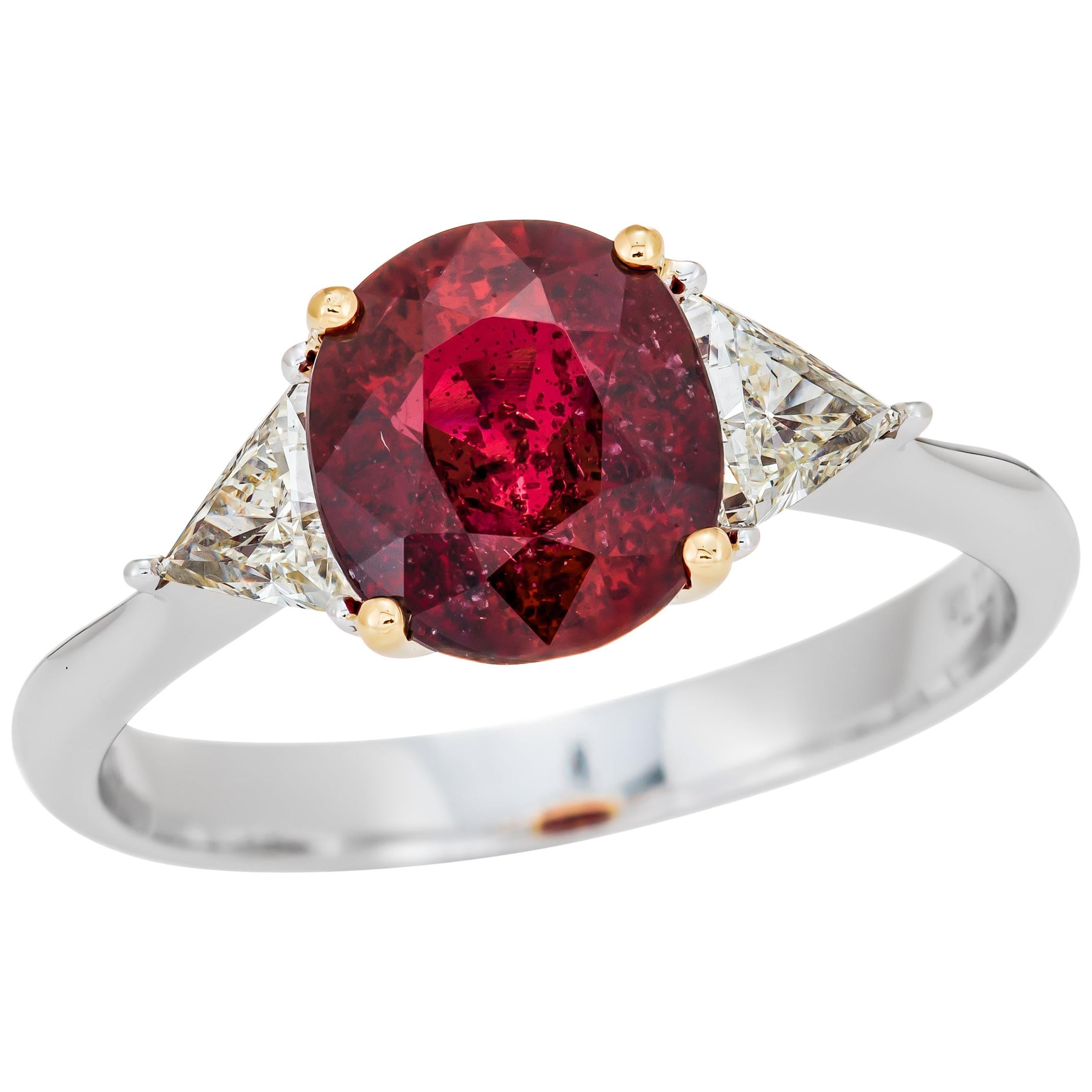 2.08 Carat Mozambique Red Ruby GIA Certified, Cushion Cut Ring