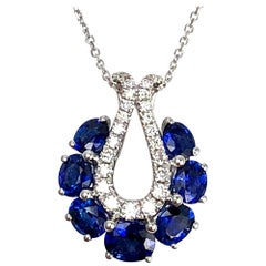 DiamondTown 2.08 Carat Oval Cut Blue Sapphire and Diamond Pendant