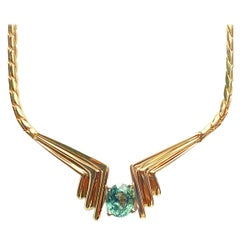 2.08 Carat Oval-Cut Green Sapphire and 14K Yellow Gold Choker Pendant Necklace