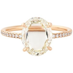 Eva Fehren 2.08 Carat Portrait Cut Oval Diamond Muse Ring in 18 Karat Rose Gold