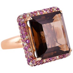 20.8 Carat Smoky Quartz with Amethyst and Diamond Ring in 18 Karat Rose Gold