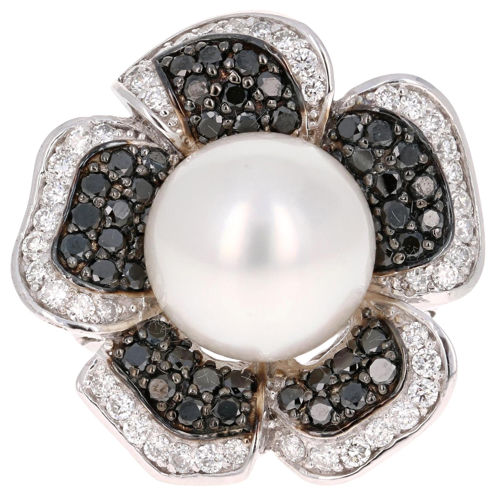 2.08 Carat South Sea Pearl Black White Diamond White Gold Cocktail Ring