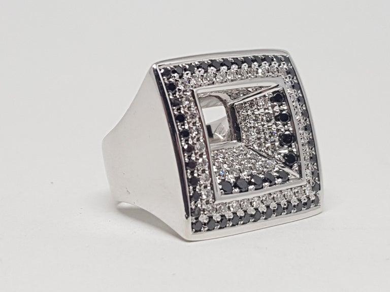 2.08 Carat White Gold Black Diamond Ring For Sale 1