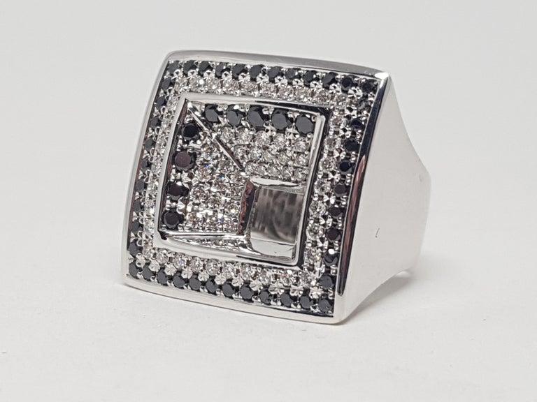 2.08 Carat White Gold Black Diamond Ring For Sale 2