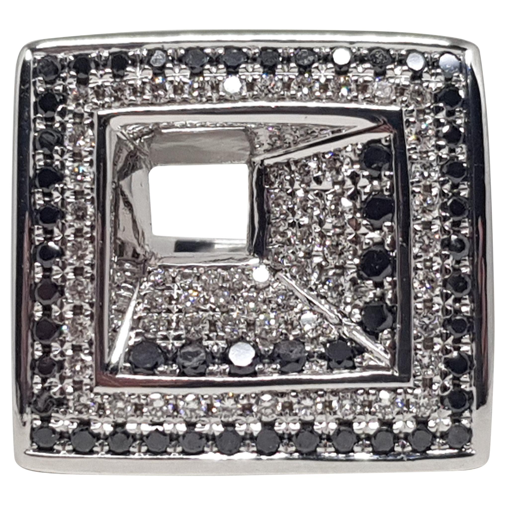 2.08 Carat White Gold Black Diamond Ring