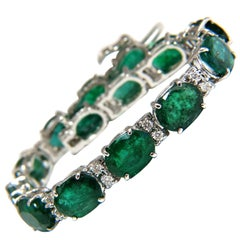 20.80 Carat Green Natural Emerald Diamonds Tennis Bracelet 14 Karat G/VS
