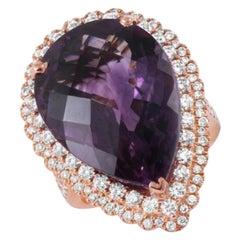 20.81 Carat Amethyst Diamond Ring 14k White Gold