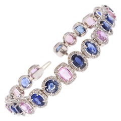 20.81 Carat Total Natural Blue and Pink Sapphire Bracelet in 18 Karat White Gold