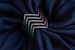 20.84 Carat Coloured Sapphire, Ruby, Tsavorite, Amethyst Chevron Cuff in 18K