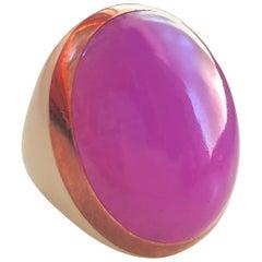 Berca 20.85 Kt Lavender Jade Beige Enameled Rose Sterling Silver Cocktail Ring