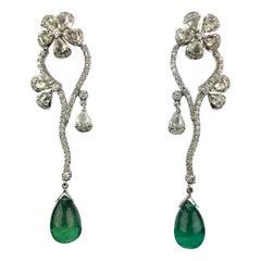 20.87 Carat Emerald Drops and Diamond Dangle Earrings