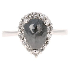 2.09 Carat Black and White Diamond 14 Karat White Gold Ring