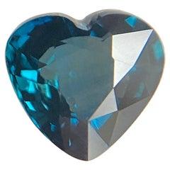 2.09 Carat Deep Blue Green Sapphire Heart Cut Loose Natural Gem