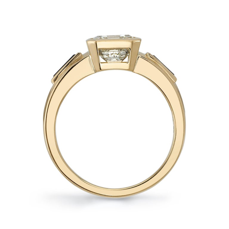 2.09 Carat Emerald Cut Diamond Set in a Handcrafted Yellow Gold Engagement Ring In New Condition For Sale In Los Angeles, CA