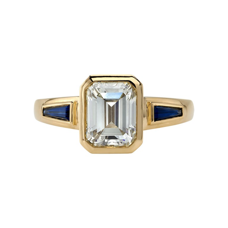 2.09 Carat Emerald Cut Diamond Set in a Handcrafted Yellow Gold Engagement Ring For Sale