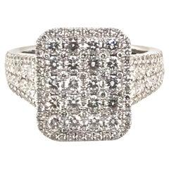 2.09 Carat Facet White Diamond Ring with 18 Karat White Gold