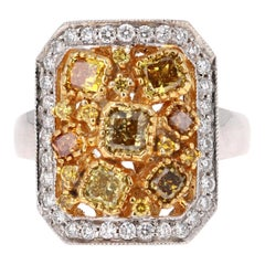 2.09 Carat Fancy Color Diamond 18 Karat White Gold Cocktail Ring