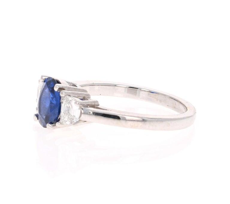 Modern 2.09 Carat GIA Certified Sapphire Diamond 18 Karat White Gold Engagement Ring For Sale