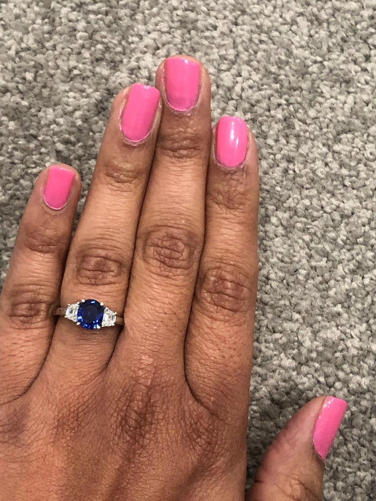 2.09 Carat GIA Certified Sapphire Diamond 18 Karat White Gold Engagement Ring In New Condition For Sale In Los Angeles, CA