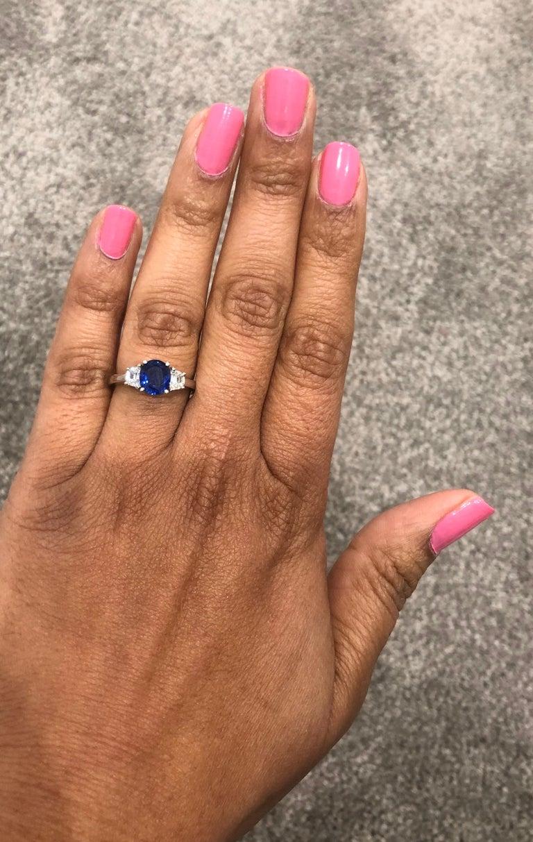 Women's 2.09 Carat GIA Certified Sapphire Diamond 18 Karat White Gold Engagement Ring For Sale