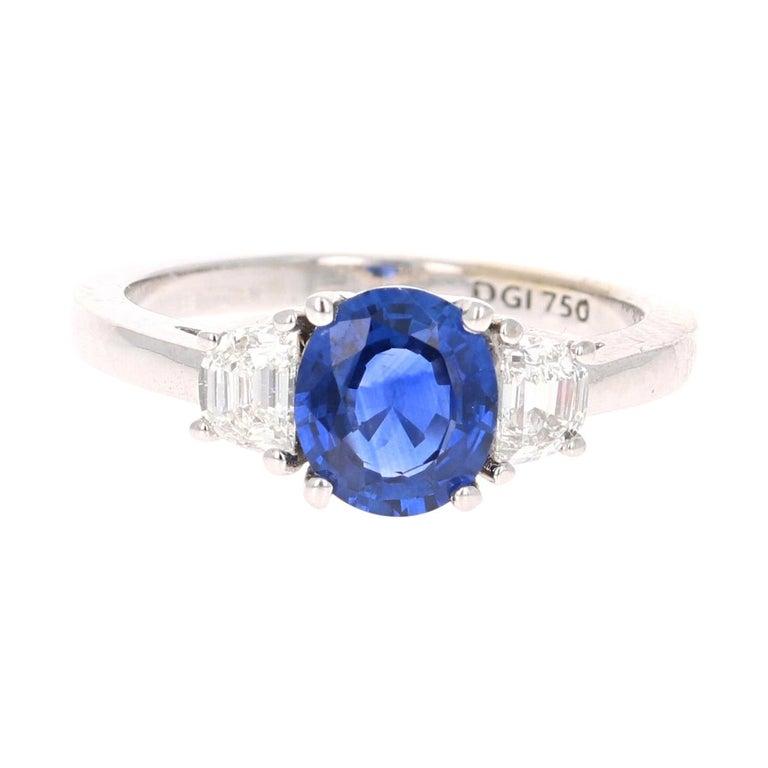 2.09 Carat GIA Certified Sapphire Diamond 18 Karat White Gold Engagement Ring For Sale