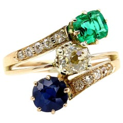 2.09 Carat Green Emerald Sapphire Old Mine Cushion Diamond Crossover Gold Ring