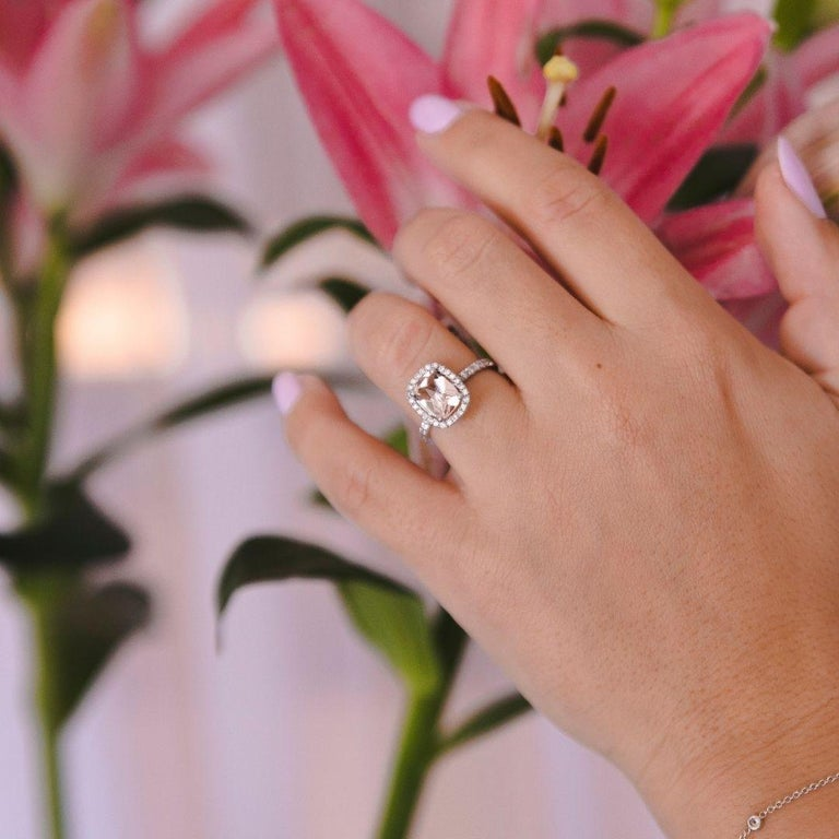 Modern 2.09 Carat Morganite and Diamonds Ring in 14 Karat White Gold - Shlomit Rogel For Sale