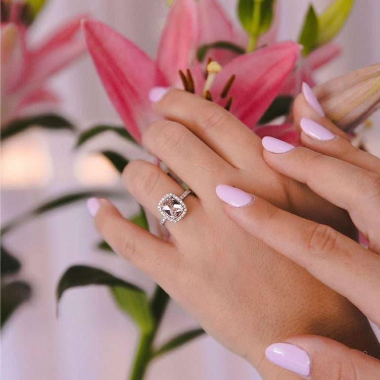 Women's 2.09 Carat Morganite and Diamonds Ring in 14 Karat White Gold - Shlomit Rogel For Sale