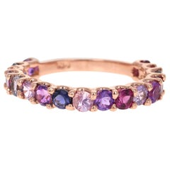2.09 Carat Multicolored Gemstone 14 Karat Rose Gold Stackable Band