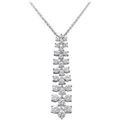Roman Malakov, 2.09 Carat Round Diamond Drop Pendant Necklace