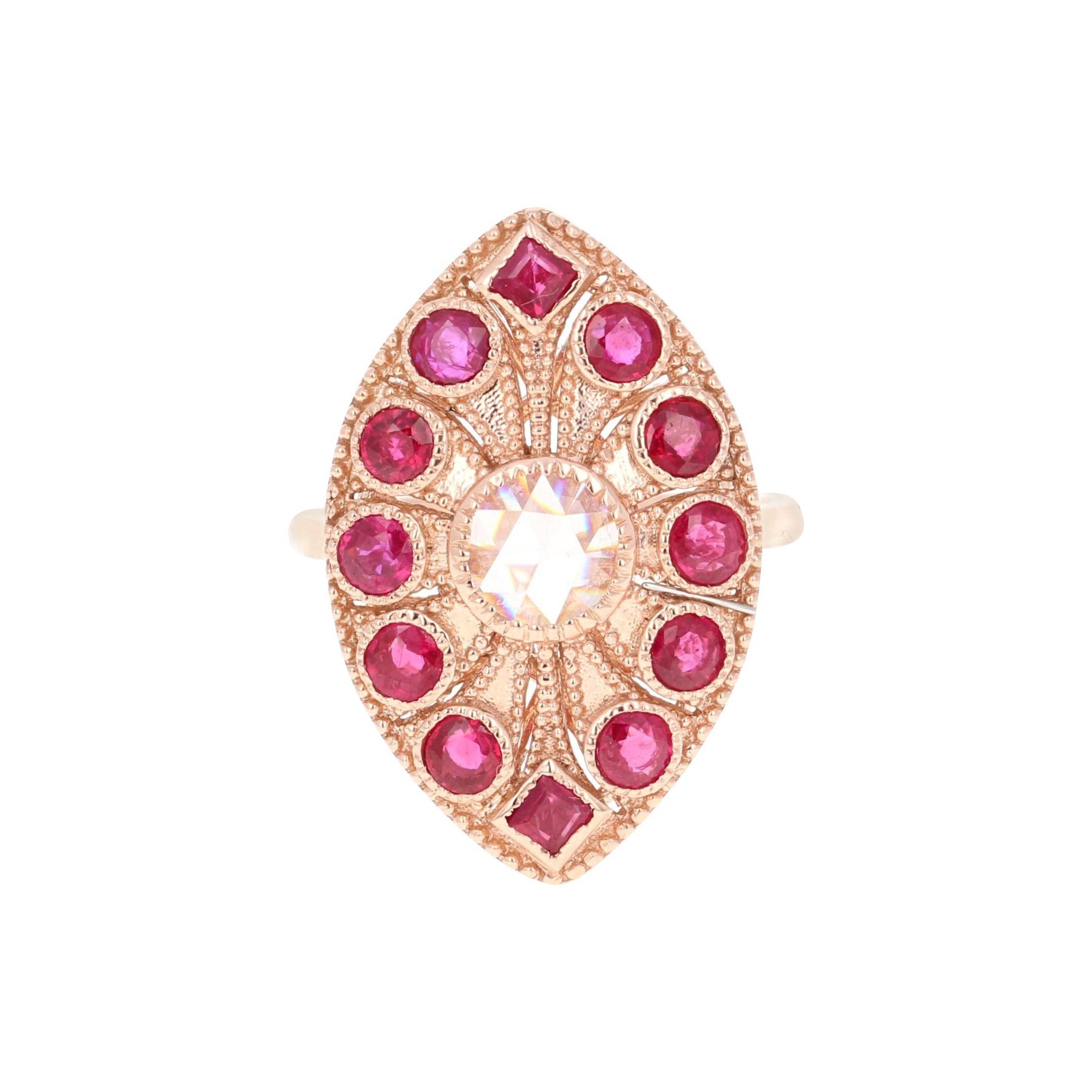 Ruby Rose Cut Diamond 2.09 Carat 14 Karat Rose Gold Cocktail Ring
