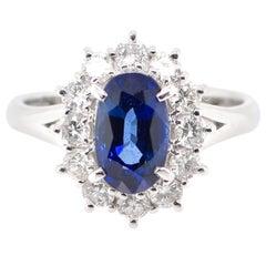 2.09 Carat Sapphire and Diamond Cluster Ring Set in Platinum