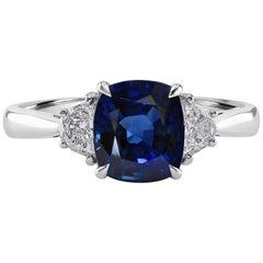 2.09 Carat Sapphire and Diamond White Gold Three-Stone Engagement Ring