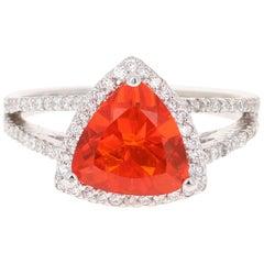 2.09 Carat Trillion Cut Fire Opal Diamond 14 Karat White Gold Ring