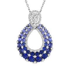 2.09 Carat Vivid Blue Sapphire and Diamond Peacock Pendant in 18 Karat Gold