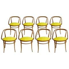 209 Thonet Midcentury Birchwood Yellow Upholstery Chairs Germany, 1900