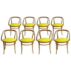 209 Thonet Mid-Century Birchwood Yellow Upholstery Dining Chairs, Germany, 1900