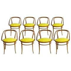 209 Thonet Midcentury Birchwood Yellow Upholstery Dining Chairs, Germany, 1900