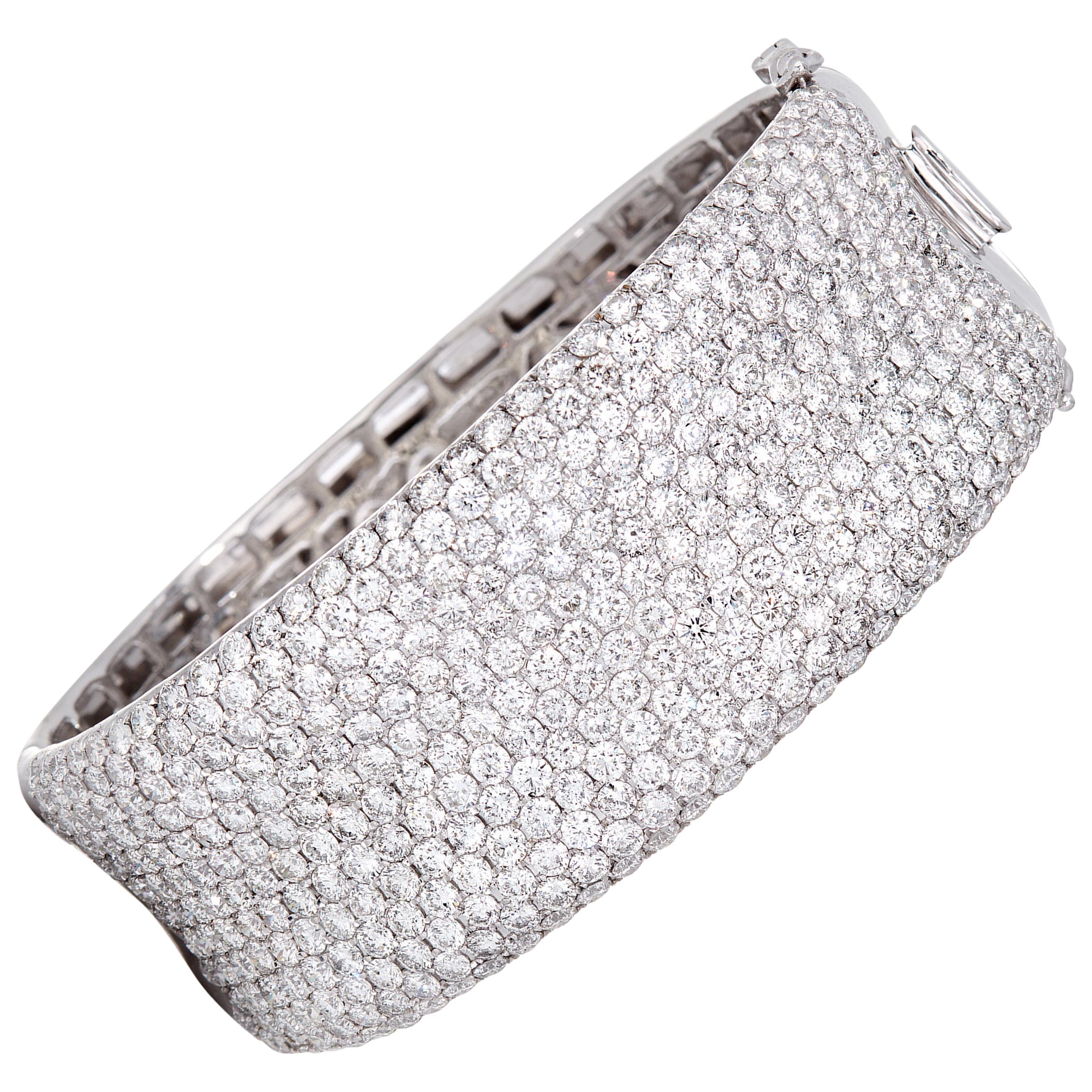 20.90 Carat Diamond Wide Cuff Bracelet in 18 Karat White Gold