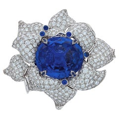 Chatila 20.93 Carat Non-Heated Ceylon Sapphire and Diamond Flower Ring
