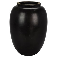 20th Century Japanese Bronze Vase Monochrome Dark Color Heavy 3.7kg