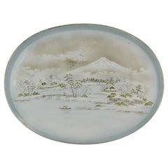 20th Century Japanese Porcelain Meiji Taisho Charger Marked Landscape Fuji