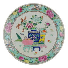 20th Century Japanese Porcelain Meiji Taisho Flowers Charger Marked at Base
